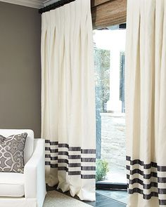 The Hotel Drape in Linen living rooms, idea, curtains and drapes, custom linen, window treatments, hous, chevron curtains living room, live room, stripe