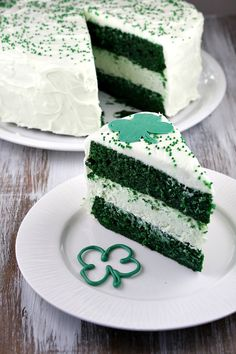 Green Velvet Cheesecake Cake - 2 layers of green velvet cake with a layer of cheesecake in the middle- all covered with cream cheese frosting.  If you're a red-velvet cake fan, you'll love this one too!
