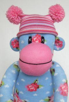 Shabby Chic Rose Sock Monkey made to order. via Etsy.