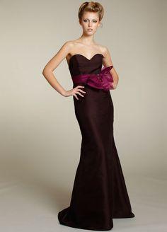 Cheap Satin Column Dark Purple Sweetheart Neck Brush Bridesmaid Dresses - 2014 Bridesmaid Dresses