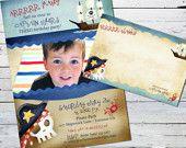 Mermaid Birthday Invitation Photo Card and Matching Thank you Note. $20.00, via Etsy.