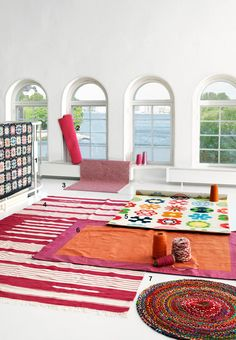 brightly colored area rugs!