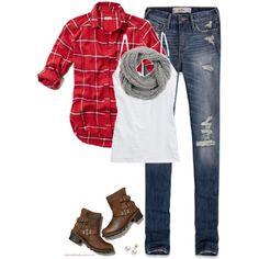 Red plaid, Gray scarf & Ripped denim