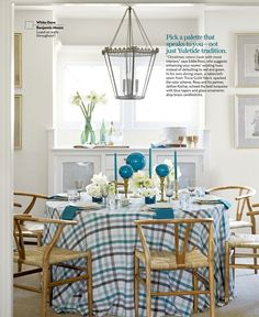 blue + white dining nook