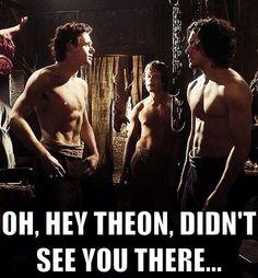 Robb Stark (Richard Madden), Jon Snow (Kit Harrington), Theon Greyjoy (Alfie Allen)...shirtless...what more is there to say?
