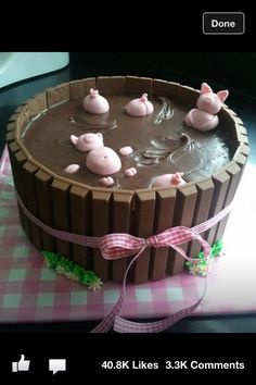 Piggy cake! Super cute! Perfect for a farm party chocolate chips, bath, hot tubs, chocolate cakes, cake recipes, treat, parti, pig, birthday cakes
