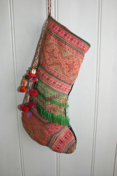 Christmas stocking, made from vintage global textiles $60