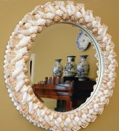 Round Shell Mirror by DIShellDesigns on Etsy