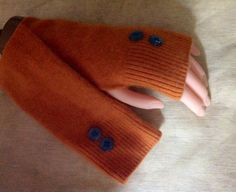 B46 cashmere fingerless glove pumpkin spice fall color, upcycled cashmere by mcleodhandcraftgifts,