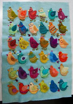 Wooly embellished birdies...from a Sue Spargo class