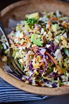 crunchy cabbage salad w/ spicy peanut dressing