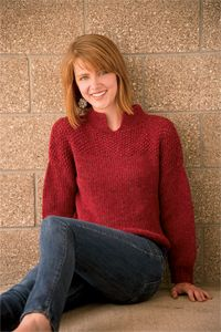 Cranberry Seed Stitch Sweater - women's sweater knitting pattern, knit sweater pattern