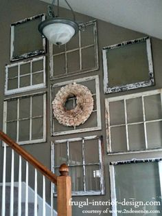 Decorating Ideas With Old Windows | Various size and style windows and frames create a cool collage of ...