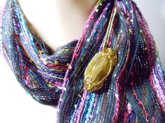 Wire Wrapped Scarf Pin Magnetic Brooch Simulated by simplysuzie2, $25.00