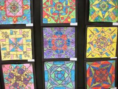 More 4th Gr. Radial Designs with Metallic Watercolor Crackle