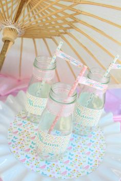 Love these drink bottles from this Shabby Chic Mother's Day Picnic via Kara's Party Ideas | Full of decorating ideas, cake, cupcakes, games, and MORE! KarasPartyIdeas.com #mothersdaypicnic #shabbychicpicnic #mamaparty #partyformom #summerpicnic #sumemrsoiree #partystyling #partyideas #partydecor