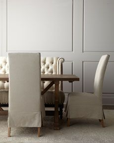 "-3X4G ""Carlyle"" Dining Table, ""Havana"" Parson's Chairs, & ""Joy"" Tufted Linen Banquette"