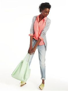 I love the cardigan, the preppy oxford shirt, the jeans, and the shoes! from gap.com