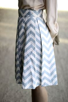 Sweet blue chevron skirt.