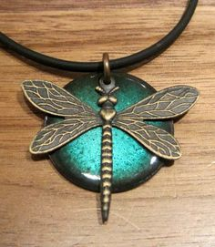 The Prairie Dragonfly...Water Blue...Copper Enamel Necklace, dragonfly jewelry