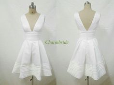 Cheap low v-neck white satin prom dresses on sale,short v-back dresses for holiday party under 100,sexy simple homecoming gowns discount. on Etsy, $99.00