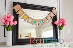 Easy Rainbow Easter Egg Banner. So bright and happy! #easter #spring