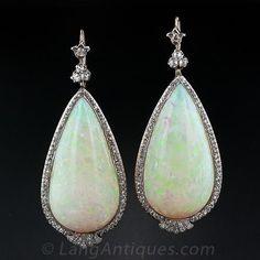 90.00 Carats (!) Antique Opal and Diamond Dangle Earrings