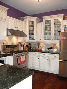 Purple & white kitchen!