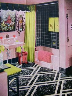 Mid-century pink bathroom awesomeness! #vintage #bathrooms #decor #pink #yellow #black