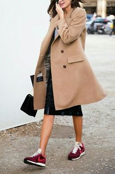 skirt, fashion, outfit, camels, street styles, camel coat, nike shoes, nike sneakers, coats