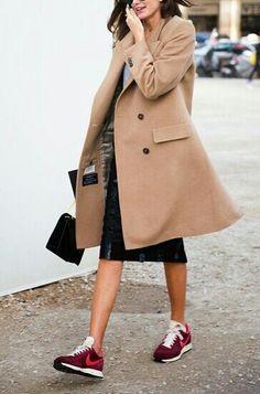coat & sneakers