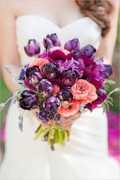 purple wedding flowers, purple and pink bridal bouquet