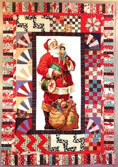 Santa (from Goodwill) and orphan blocks at Nifty Quilts