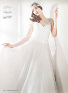 """""""Marielle"""" French lace beaded cap by Liv Hart for Sophie Hallette featured in the latest issue of Inside Weddings"""