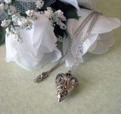 Vintage Silver Heart Locket Necklace