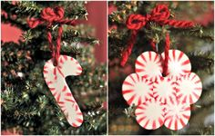 holiday, craft, tutorials, homemade ornaments, juices, candy canes, peppermint ornament, creativ juic, christma