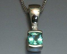 14k white gold pendant with checker board top Seafoam Tourmaline and Diamond