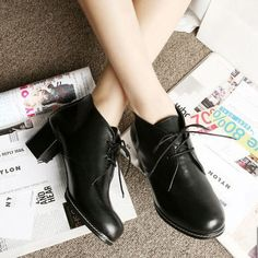 High Quality Womens Oxford Shoes Black Brown Red Lace Up Mid Square Heel Ankle Shoes Booties Clearance-in Pumps from Shoes on Aliexpress.com