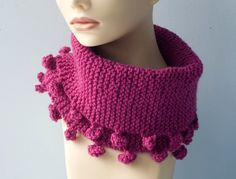 Burgundy Hand Knit Cowl Scarf