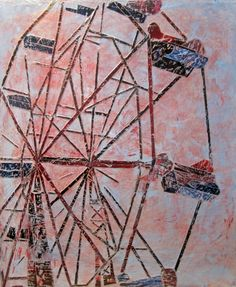 """Miniatures:                 CopyrightRandy L Purcell 2010  Create a free website with     """"The Giant Ferris Wheel"""" Triptych- ea panel 40"""" x 16"""" milk paint, Ink transfer on beeswax."""