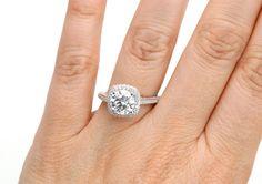 18K+Moissanite+Engagement+Ring+Diamond+Halo+2ct+by+RareEarth,+$2,895.00