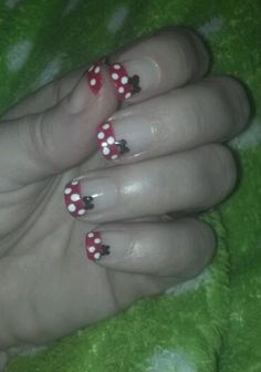 Minnie Mouse nails! I had to give this a try after pinning. Love how they turned out!
