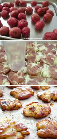 Crispy smashed potatoes:  Boil potatoes in water until completely cooked through (can poke all the way in easily). Let cool for 10min. Smash the potatoes w/ a cup, coat with olive oil and spices. Bake for another 15min on top rack, then 30min in middle rack..