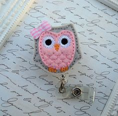 Retractable Id Badge Holder Cute Pink and Light Gray Felt Owl Badge Reel ID,  Ready To Ship, Felt Badge Reel, Nurse ID Badge Reel
