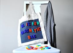 magnetic paint on a tote bag