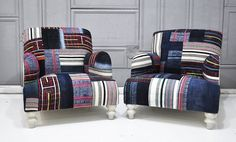 2 x patchwork armchairs by namedesignstudio on Etsy, $2990.00