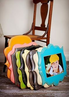 Buy the wood plaquegs at hobby lobby for $1, paint and mod podge your photo onto them.. I am so in LOVE with this idea! I so want to do this!
