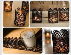 DIY Black Lace Candles. Romantic