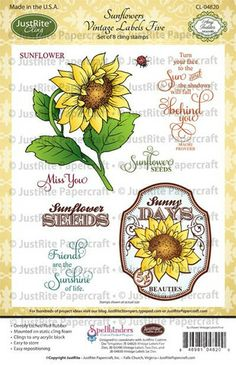 just rite Sunflowers Vintage Labels Five Cling Stamps