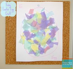 (FSPDT): Easter Egg Craft- torn tissue paper. Great for fine motor skills and fun for toddlers and preschoolers.